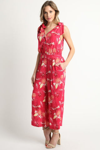 Floral Berry Jumpsuit