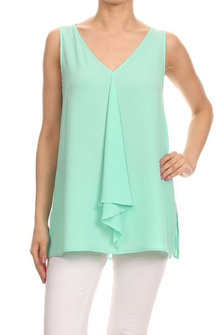Riley Sleeveless Top - Mint Green