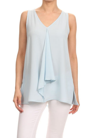Riley Sleeveless Top - Baby Blue