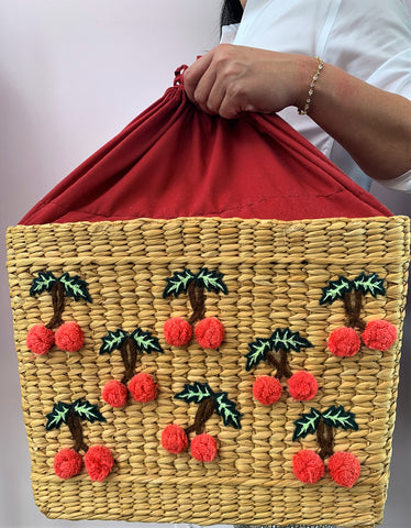 Gattered Cherry Straw Tote Bag