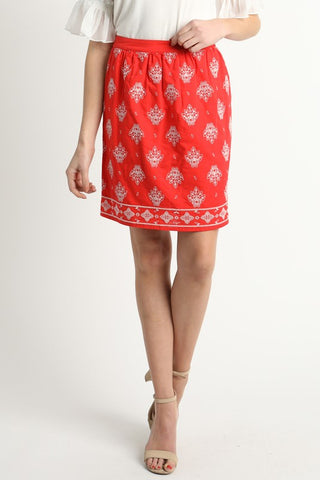 Coral Color Embroidered Skirt