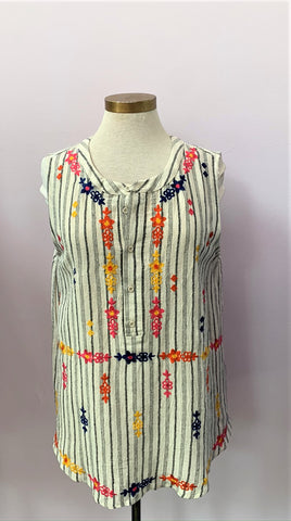 Multi Embroidered Sleeveless Top