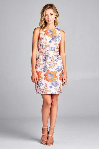 Tangerine Floral Printed Dress