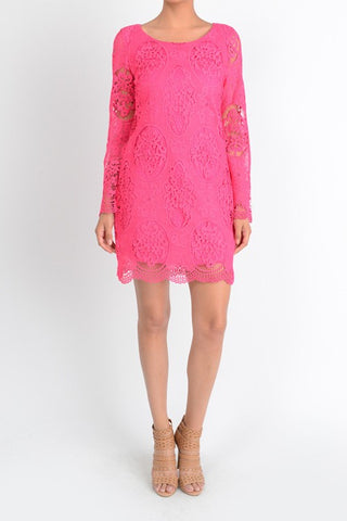 Flamingo Pink Lace Dress