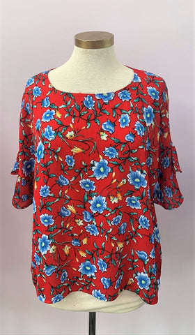 Ruffled Sleeve Floral Multi Color Top