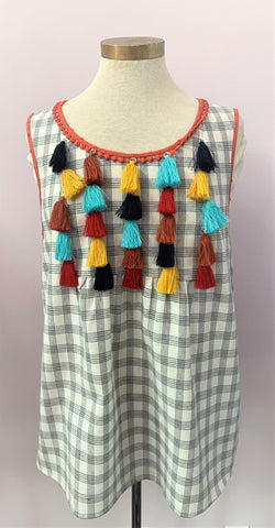 Multi Pom Pom Sleeveless Top