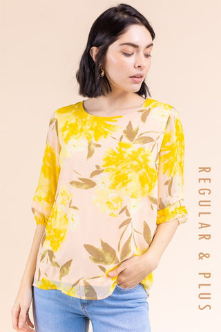 Sunflower Yellow Round Neck Top