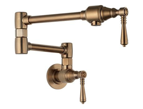 POTFILLERS TRADITIONAL POT FILLER - WALL MOUNT BRILLIANCE BRUSHED BRONZE