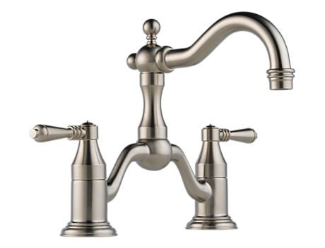 BRIZO TRESA TWO HANDLE WIDESPREAD BRIDGE LAVATORY FAUCET BRILLIANCE BRUSHED NICKEL