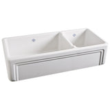 Shaws Original Casement Edge Front 1 1/2 Bowl Fireclay Apron Kitchen Sink