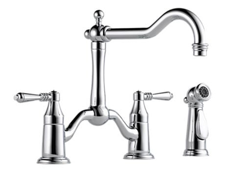 TRESA TWO HANDLE BRIDGE KITCHEN FAUCET WITH SPRAY CHROME