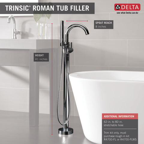 Delta Single Handle Floor Mount Tub Filler Trim with Hand Shower