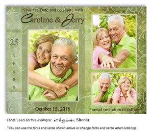 Lime Green Floral Blocks Save the Date Anniversary Photo Magnet