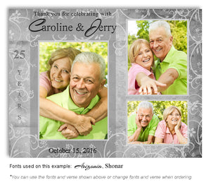 Silver Floral Blocks Thank You Anniversary Photo Magnet