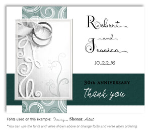 Teal Embroidered with Love Thank You Anniversary Magnet
