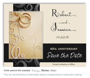 Black Embroidered with Love Save the Date Anniversary Magnet