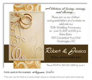 Gold Embroidered with Love Invitation Anniversary Magnet