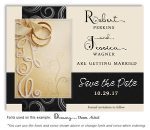 Black-Cream Embroidered With Love Save the Date Wedding Magnets