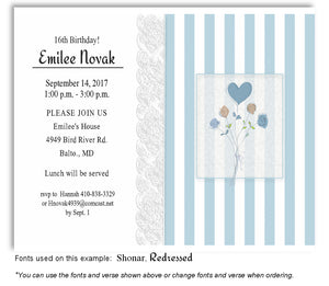 Blue Heart Bouquet Invitation Birthday Magnet