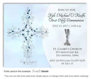 Blue Filigree Cross and Chalice Invitation Communion Magnet