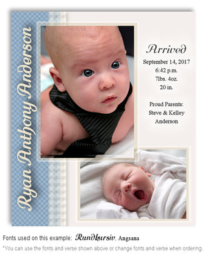 Blue Birth Announcement Photo Magnet
