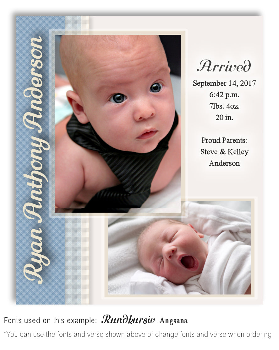 Turquoise Birth Announcement Photo Magnet