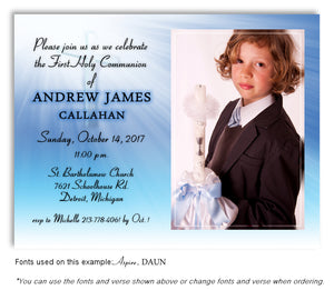 Blue Invitation Photo Communion Magnet
