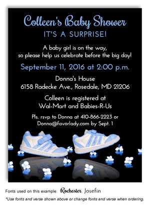 Steppin' Out Blue Baby Shower Invitation Magnet