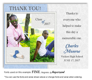 Blue Thank You Photo Graduation Magnet