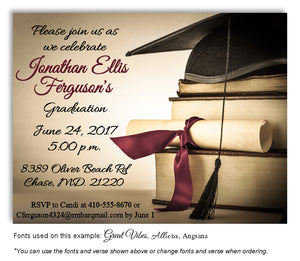 Tan-Burgundy Book Smart Invitation Graduation Magnet