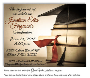Tan-Burnt Orange Book Smart Invitation Graduation Magnet