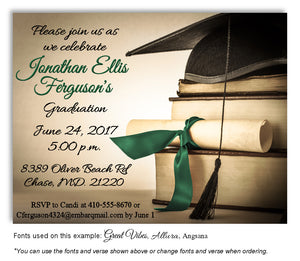 Tan-Green Book Smart Invitation Graduation Magnet