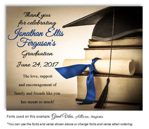 Tan-Royal Blue Book Smart Thank You Graduation Magnet