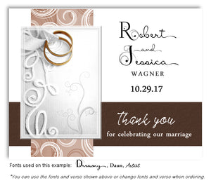 Brown Embroidered With Thank You Wedding Magnets