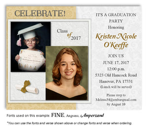 Gold Invitation Photo Graduation Magnet