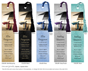 Elegant Graduation Bookmark with Cap, Books, Diploma