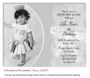 Gray Sheer Lace Invitation Photo Birthday Magnet