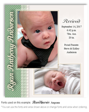 Green Birth Announcement Photo Magnet