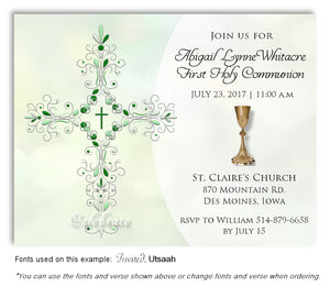 Light Green Filigree Cross and Chalice Invitation Communion Magnet