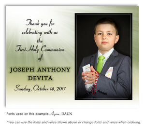 Light Green Thank You Photo Communion Magnet