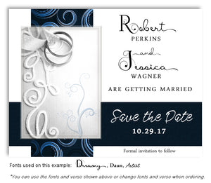 Navy Embroidered With Love Save the Date Wedding Magnets