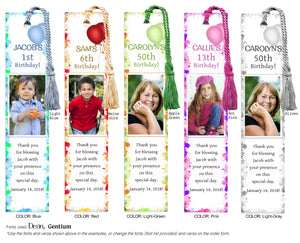 Photo Birthday Bookmark with multi-colored border