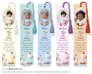 1st Birthday Photo Bookmark with Cake and Balloons