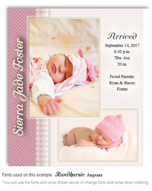 Pink Birth Announcement Photo Magnet