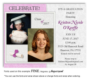 Pink Violet Invitation Photo Graduation Magnet