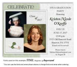 Sage Green Invitation Photo Graduation Magnet