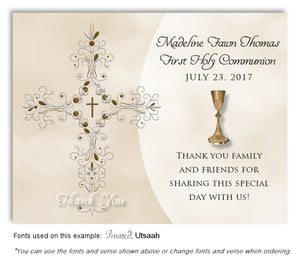Tan Filigree Cross and Chalice Thank You Communion Magnet