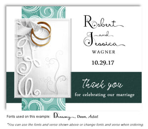 Teal Embroidered With Thank You Wedding Magnets