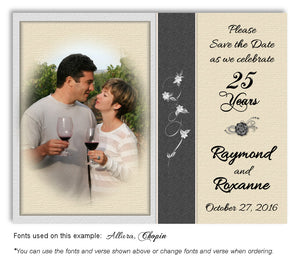 Gray Subtle Floral Save the Date Anniversary Photo Magnet