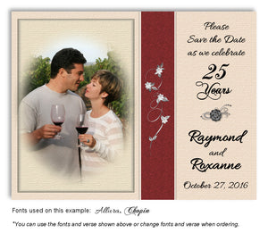 Red Subtle Floral Thank You Anniversary Photo Magnet